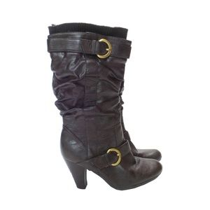 RELATIVITY Brown Leather Heeled Boots (Size 6)